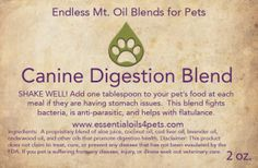 CANINE DIGESTION BLEND | Endless Mt. Oil Blends for Pets Bad Dog Breath, Dog Food Recipes, Diffuser, Essential Oils, Pets, Health, Health Care, Dog Recipes, Animals And Pets