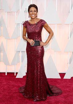 Robin Roberts beautiful red dress, Oscars 2015