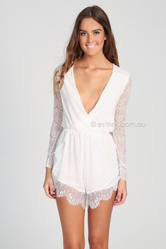 emma playsuit - white | Esther clothing Australia and America USA, boutique online ladies fashion store, shop global womens wear worldwide, designer womenswear, prom dresses, skirts, jackets, leggings, tights, leather shoes, accessories, free shipping world wide. – Esther Boutique