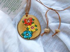Flower pendant necklace Hand painted wooden necklace Olive
