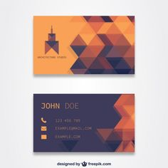 Template laranja cartão de visita