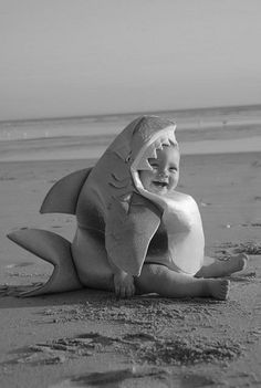 Rare photograph of a shark baby on the shore of a beach. Its mother is nowhere in sight, yet it appears to be well fed and very happy.