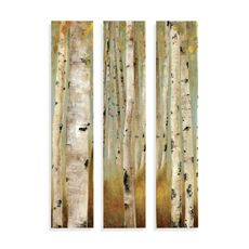 ECO Canvas Wall Art (Set of 3).  Traditional birch tree imagery with a contemporary design.  Artist: Allison Pearce.