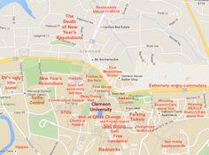 Judgmental Map of Clemson  Clemson: http://theblacksheeponline.com/clemson/a-judgmental-map-of-clemson-sc