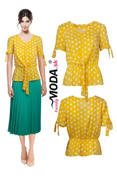 Elegantná žltá letná dámska blúzka s bielými bodkami a efektnými detailami. Modeling, Jar, Modeling Photography, Models, Jars, Glass