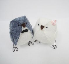 Fabric wedding cake topper birds  - light grey and white with pink rose and black bowtie $34 soo cute