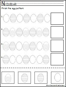 Here's a free cut and paste pattern activity for Easter. Looking at the pattern and determining what will come next is a way to work on the visual perceptual skill of visual closure.