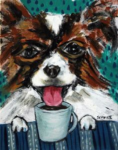 Papillon at the Coffee Shop Dog Art Original Oil by lulunjay, $60.00