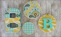 Nursery Decor Embroidery Hoop Set. Yellow Aqua Teal by amblebee, $38.00