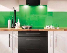 Green Kitchen Back Painted Glass Backsplash