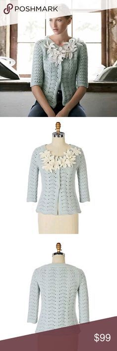 """Baby Blue Anthropologie Cardigan Sweater Flowers This is the gorgeous Field Flowers Anthropologie Starflower Cardigan Sweater adorned with creamy white spring flowers! Celestial blossoms garland thick pointelle stitches in this artful creation. This beautiful baby blue sweater features snap front closure and raised formed flowers on front. A ladylike timeless classic style statement that will last the long haul. Perfect for springtime, easter and paassover Beautiful!  Bust 41"""" Waist 42""""…"""