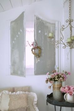 BACK TO FRONT- HERE, SHUTTERS, TALL VASE, SMALL VASE.  THE THREE.  Shabby Chic