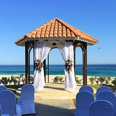Beachfront wedding gazebo at Dreams Los Cabos