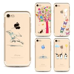 Sale 20% (2.29$) - Girl Animals Cat Painted Soft TPU Silicone Case For iPhone 7