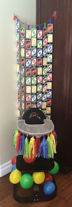 Uno themed background and high chair Baby First Birthday Themes, First Birthday Decorations, Birthday Diy, First Birthday Parties, Birthday Ideas, Birthday Centerpieces, Birthday Shirts, Birthday Cake, High Chair Decorations