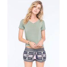 Full Tilt Womens V-Neck Tee ($15) ❤ liked on Polyvore featuring tops, t-shirts, olive, full tilt, short sleeve v neck tee, olive green top, short sleeve tee and vneck tee