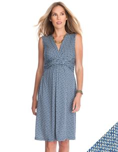 5a33ff9c505 Blue Printed Maternity  amp  Nursing Dress Maternity Clothes Online