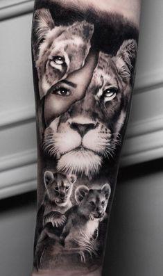 Mutterschaft Tattoos, Mama Tattoos, Lion Head Tattoos, Mother Tattoos, Cute Tattoos, Cool Girl Tattoos, Tattos, Lion And Lioness Tattoo, Lioness Tattoo Design
