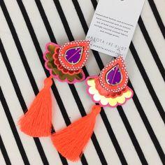 COLOURFUL TASSEL EARRINGS in neon orange, red, purple and gold. Bold, statement earrings with a fluorescent tassel by dakota rae dust Funky Earrings, Tassel Earrings, Vintage Fabrics, Vintage Prints, Textile Recycling, Red Purple, Orange Red, Recycled Fabric, Etsy Uk