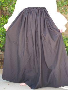 Renaissance Wench Pirate Faire Simple Drawstring Skirt Black