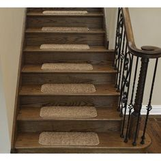 Ottomanson Comfort Collection Soft Solid (Non-Slip) Plush Carpet Stair Treads, 9 inch x 26 inch, 7 or 14 Pack, Beige