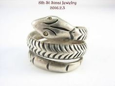 Estate Taxco Sterling Silver 925 Textured double Coil SNAKE Wrap Ring Size 7.5