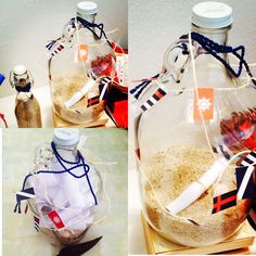 Botella de los buenos deseos. Los invitados escriben sus buenos deseos para los futuros padres y el bebé. Luego insertan la hoja en la botella.