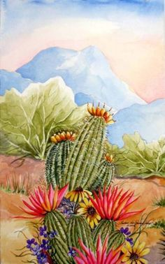 Among Friends III - Southwest Art Print - Barrel Cactus and Hedgehog Blossoms in the Sonoran Desert - Arizona Desert Lan Cactus Painting, Watercolor Cactus, Cactus Art, Painting & Drawing, Watercolor Paintings, Cactus Decor, Cactus Flower, Watercolors, Cactus Pictures