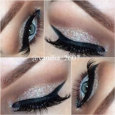 chic #neutral feminine #makeup @vanillia2607: champagne + silver #glitter on the lid, defined brown crease, black winged eyeliner