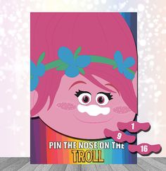 Trolls Party Supplies Party Game Pin the Nose by kidspartyprintco