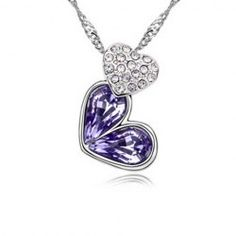 $5.60 Sparking Rhinestoned Heart Decorated Pendant Necklace For Women