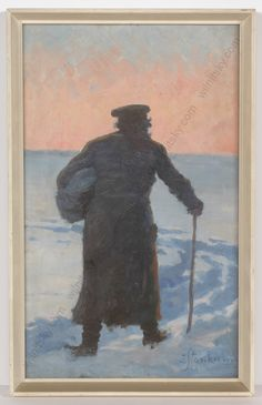"Zofia Stankiewicz ""Jew on the way to market"", oil Female Artist, Antique Market, Russian Art, Winter Christmas, Seasonal Decor, Ukraine, Dawn, Original Art, Polish"