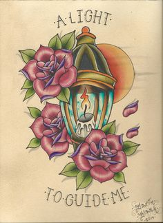 """""""A Light to Guide Me"""" traditional tattoo flash by Darin Blank. Instagram: @blankenstein83"""