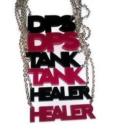 Black DPS Necklace, Laser Cut Pendant, Damage Per Second, World of Warcraft. $13.99, via Etsy.