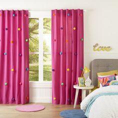 19 Cool Patterns for Crochet Curtains Pom Pom Curtains, Cute Curtains, Pink Curtains, Crochet Curtains, Kids Room Curtains, Kids Bedroom, Master Bedroom, Baby Room Decor, Bedroom Decor