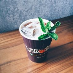 Mint Mojito Iced Coffee   Ingredients:     Philz pourover coffee     Fresh mint leaves     Simple syrup     Heavy whipping cream