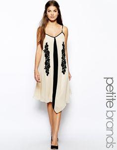 Enlarge Little Mistress Petite Midi Cami Dress with Lace Panel
