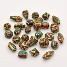 50pcs Retro Prayer Nepal Beads Handmade Antique Golden Turquoise Red Coral Tibetan Beads Charms for Jewelry Making hole: 1~1.5mm-in Beads from Jewelry & Accessories on Aliexpress.com | Alibaba Group