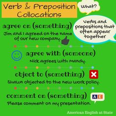 "Some words go together better than others. A collocation is just that: a combination of words that are commonly used together. For example, the verb ""ask"" is often used with the preposition ""for"": I asked for help. These combinations can sometimes be difficult for English language learners. Check out the first of our collocations graphic! #AmericanEnglish"