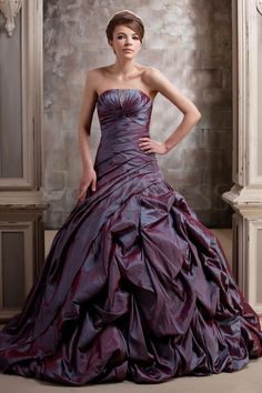 Grape Taffeta Wedding Dress With Lace. Perfect for Second Wedding, Plus Size Bride, and Older Bride.