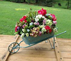 Silk Flower Spring Garden in Rustic Wheel Barrow Home Decoration Arrangement  #KLCBrand