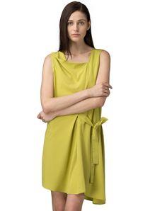 #AdoreWe #VIPme Skater Dresses - SAINTY Yellow Asymmetric Sleeveless Pleated Mini Dress - AdoreWe.com