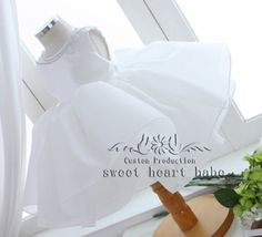 White Flower Girl DressParty Dresscheap flower by sweetheartbabe