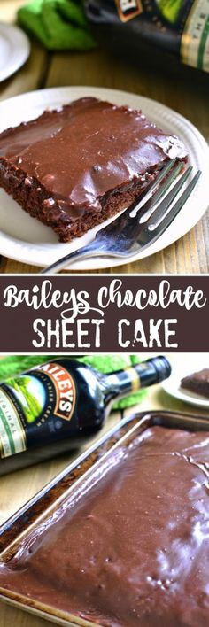 This Baileys Chocolate Sheet Cake has everything you could want - Baileys, chocolate, and cake! It's moist, rich, and packed with delicious Baileys flavor....perfect for St. Patrick's Day or summer picnics! This cake feeds a crowd!