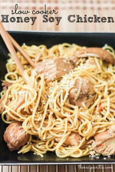 The Recipe Critic: Slow Cooker Honey Soy Chicken | sub spaghetti squash for the soba noodles.