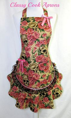 Apron SKULLS Resting in ROSES, Sexy Goth, Lace Ruffled Flounce, Pretty Pink Party Hostess, Unique Kitchen Gift, by ClassyCookAprons, $38.50