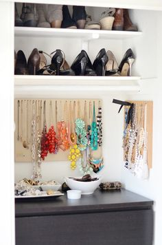 CLOSET ORGANIZING IDEAS - definitely need to relocate jewelry - this is awesome.