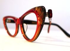 The Red Sweetheart. Ruby Red Honey Dipped Carved Cat Eye Frames, Mad Men Eyeglasses or Sunglasses, Golden Black Accents, NOS