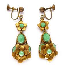 Vintage Art Deco Czech Peking Glass Floral Gold Tone Earrings | Clarice Jewellery