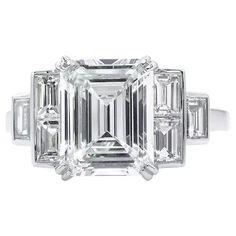Vintage GIA 3.09ct Emerald Diamond Engagement Platinum Ring Emerald Ring Vintage, Wedding Rings Vintage, Vintage Diamond, Vintage Rings, Engagement Rings Cushion, Deco Engagement Ring, Vintage Engagement Rings, Platinum Diamond Rings, Emerald Cut Diamonds